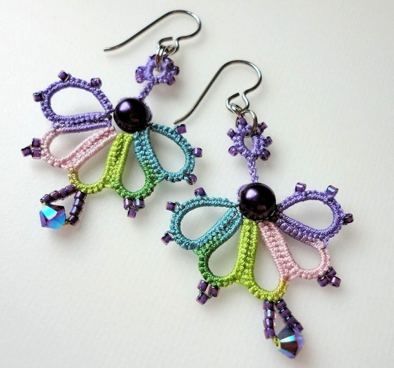 Tatted earrings in shaded purple and green