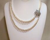 Vintage Rhinestone Brooch and Pearls Bridal Necklace