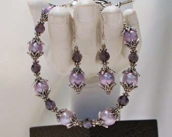 Purple Freshwater Pearls and Crystal Bracelet and Earrings