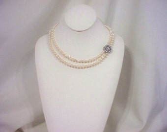 Swarovski Double Strand Cream Pearl Necklace