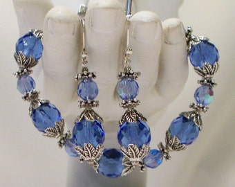 Blue Bracelet and Earrings Set