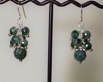 Faceted Natural Emerald Earrings