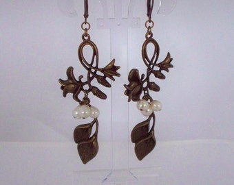 Lilies and Freshwater Pearls Bronze Earrings