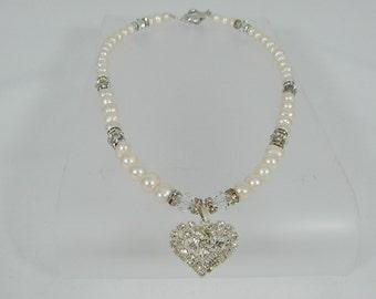 Rhinestone Heart Pendant Pearl Necklace