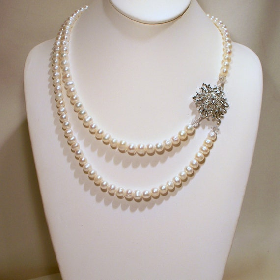 Vintage Rhinestone Brooch and Pearls Bridal Necklace