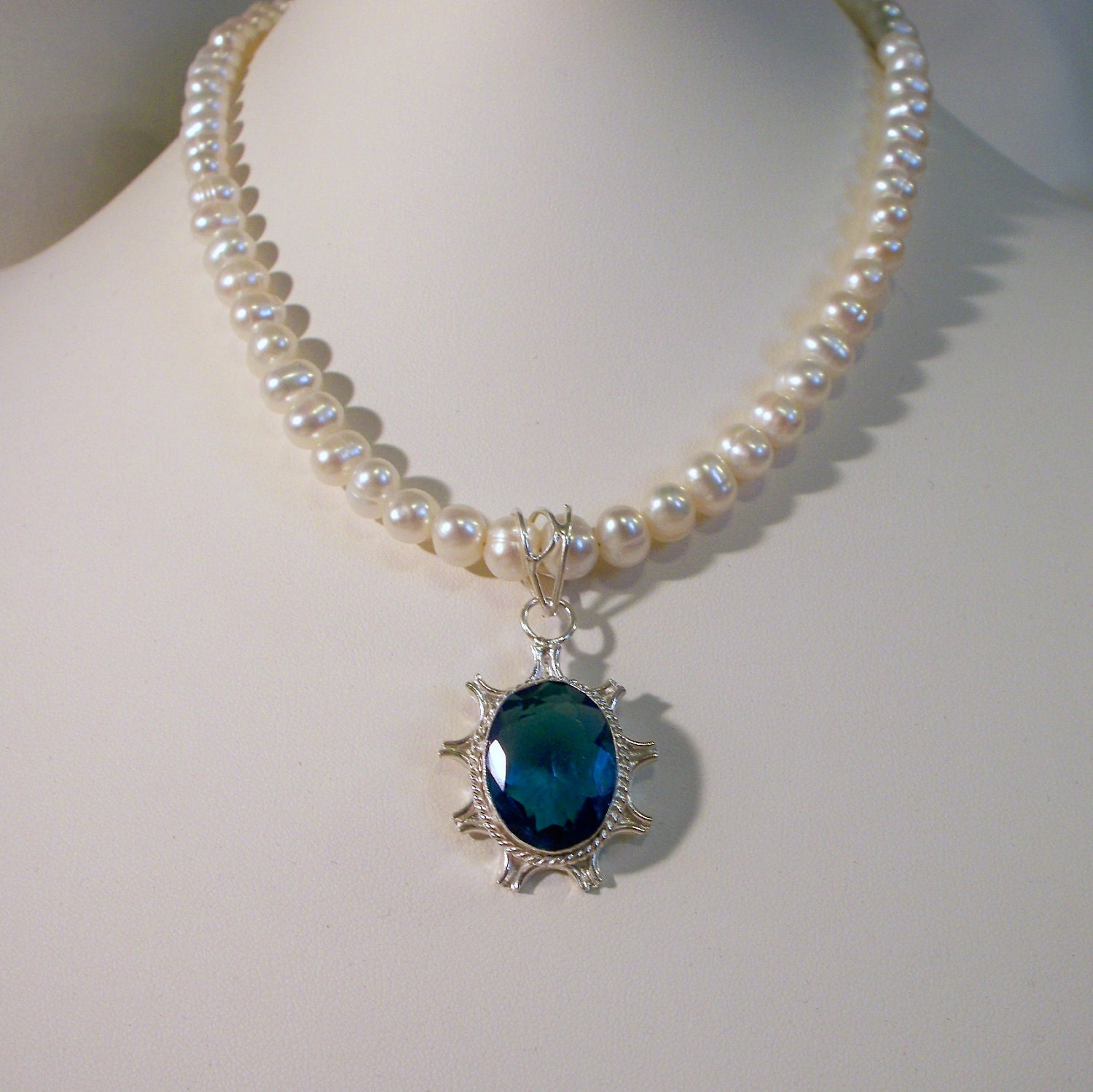 Something blue sapphire pearl necklace by tbyrddesigns on etsy for Man made sapphire jewelry