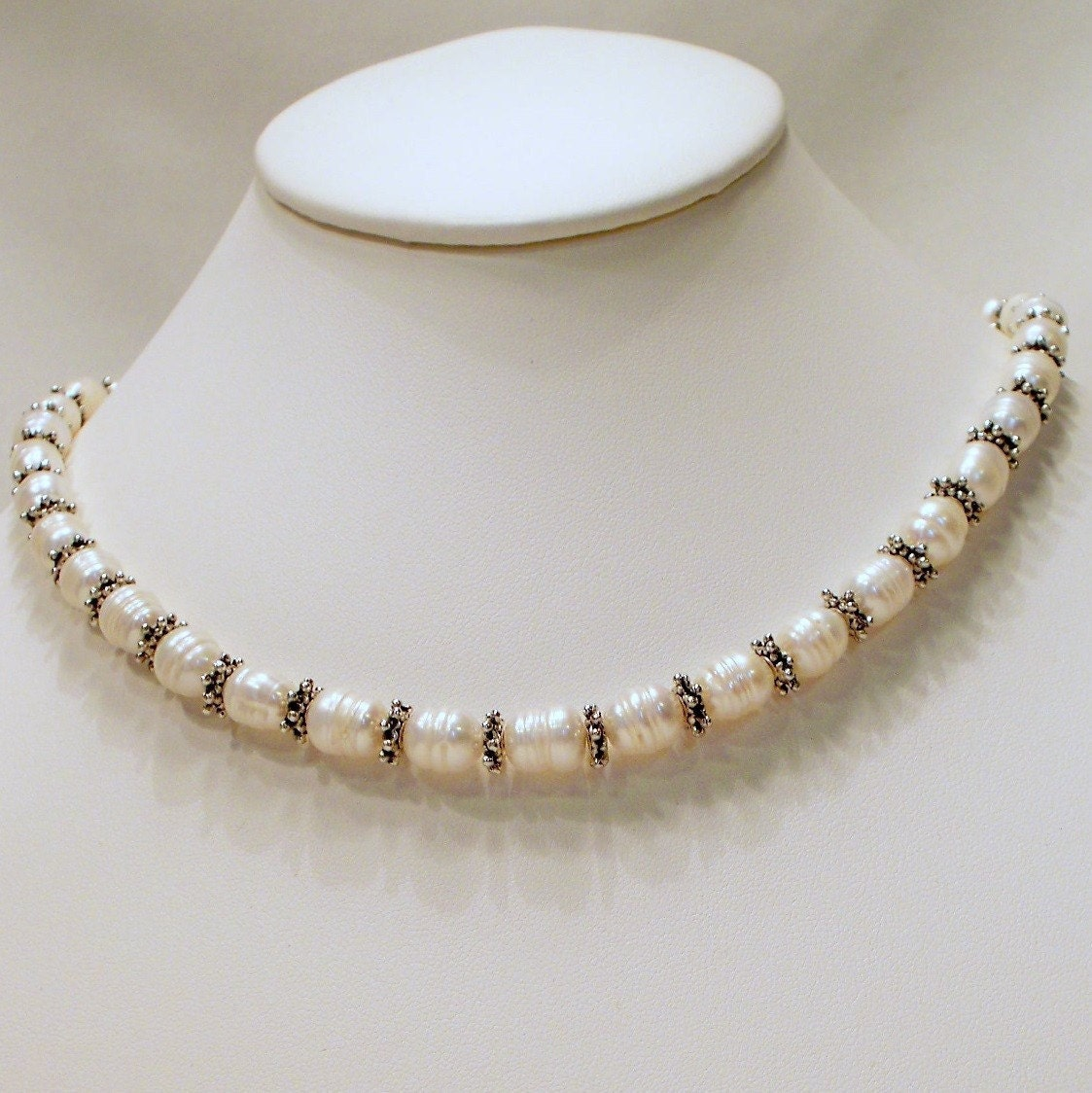 Single Strand Pearl Necklace: Renaissance Single Strand White Freshwater Pearl Necklace