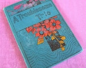 SALE Antique Childrens Book Art Nouveau small teal blue hardback with flowers