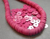 Vintage Sequins FUSCHIA PINK 6mm flat full strand couture paillettes