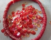 Vintage Sequins Strand RUBY RED RAINBOW full strand cupped couture lot 5mm cupped