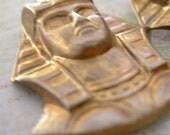 Vintage PHARAOH Brass Stampings Prong Back lot of 2 Egyptian