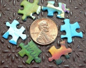 Miniature Jigsaw Puzzle Pieces Altered Art Supplies TINY lot of 60