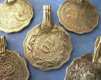 SCALLOPED Silver Coin Charms Afghan Pendants lot of 5 ETHNIC ELEMENTS
