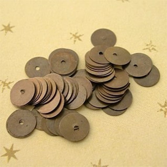 Metal Sequins OXIDIZED BRASS lot of 50