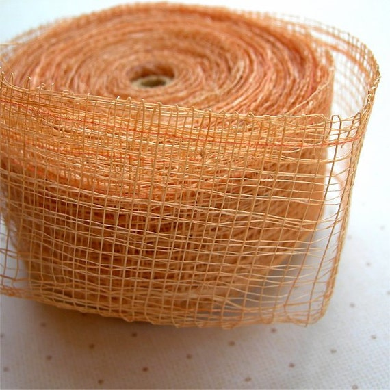 Sinamay Ribbon Trim in PEACH 1 and a half inches wide doubled NATURAL ELEMENTS 2 yards