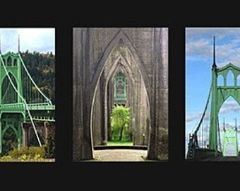 Portland, St Johns Bridge Matted Triptych Fine Art Print