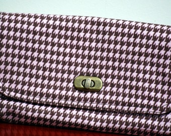 Mini Clutch Bag Pink Houndstooth - ON SALE