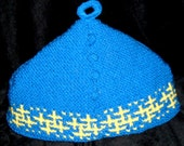 Old fashioned Tea Cozy - Blue - new handknit with lining