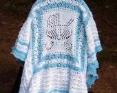 Blue Buggy Baby Afghan Blanket crib stroller toddler