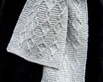 Gray Twist Scarf - Wool - handknit