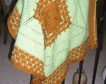Green Rust Baby Afghan Blanket for Crib, Stroller, Car seat, wheelchair -
