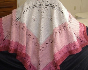 Pink Baby Afghan Blanket - Lace -' Roses for baby'