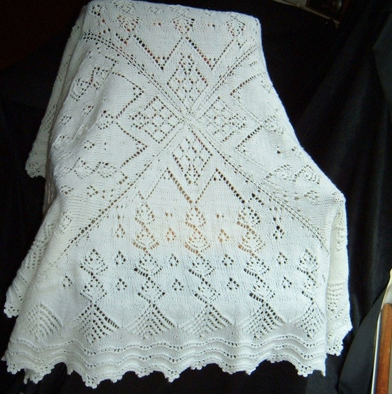 Victorian Baby Afghan Blanket White Lace