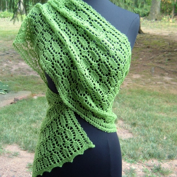 Lively Green Lace Scarf Wrap Shawl Stole