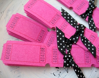 100 Blank Carnival Tickets - Hot Pink