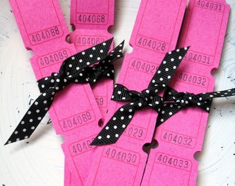 20 Blank Carnival Tickets - Hot Pink