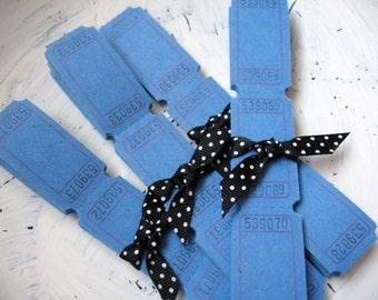 100 Blank Carnival Tickets - Bermuda Blue