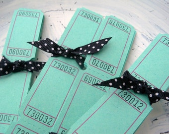 100 Blank Carnival Tickets - Minty Green