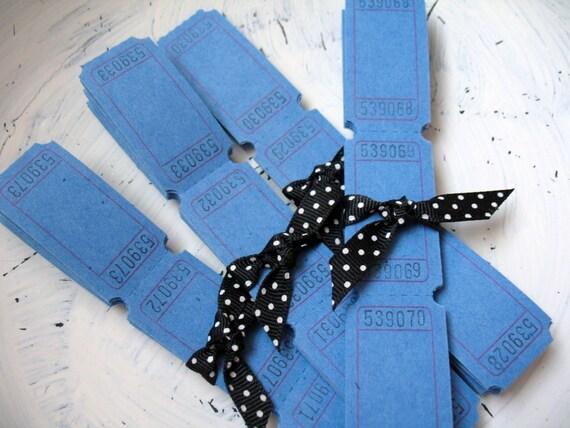 20 Blank Carnival Tickets - Bermuda Blue