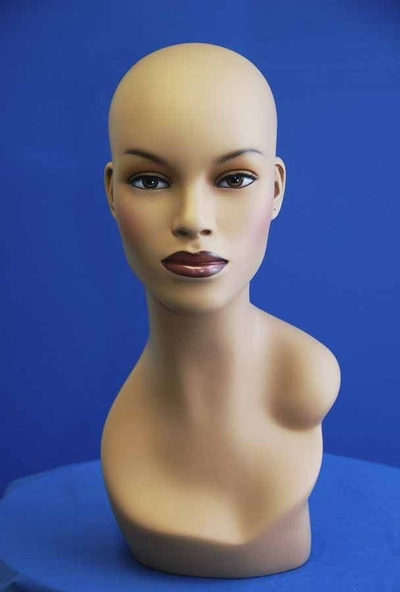 African American Fiberglass Mannequin Head Display With Bust and ...