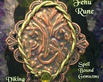 VIKING Tree of Life/ YGGDRASIL/ FEHU Rune/ Necklace/ Talisman/ Handworked Vintage Copper/  Spell Bound Gems(tm)