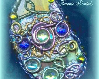 Elven Jewelry/ Tolkien/ FORBIDDEN POOL Faerie Portals/ Enchanted Pendulum/ Amulet/ Necklace/ /Spell Bound Gems(tm)/ Organic Rose Petals