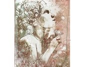 Giclee print on cotton fabric - In Her Hand a Lily