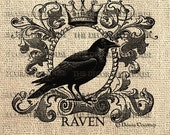 HALLOWEEN Digital Vintage RAVEN. Crown. DOWNLOAD. For Iron On Transfer, Pillows,  Art Prints. 8 x 9 inches. The Decorated House