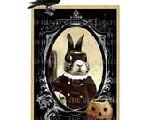 HALLOWEEN . BEAU Bunny RABBIT. Faux Cabinet Card. Decoration. Art Print 5 x 7 inch. The Decorated House