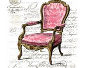 Vintage Style Art Pink French Chair with Antique French Script. Paris. 8 x 10  inches. by  The Decorated House on Etsy