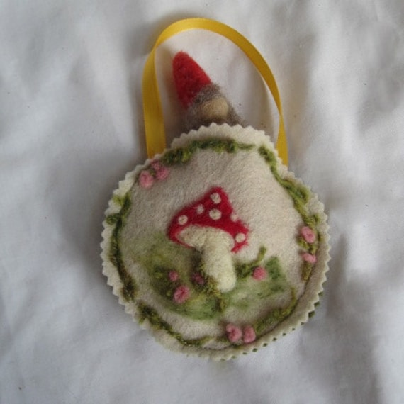 Toadstool Ornament With Needle Felted  Gnome Doll