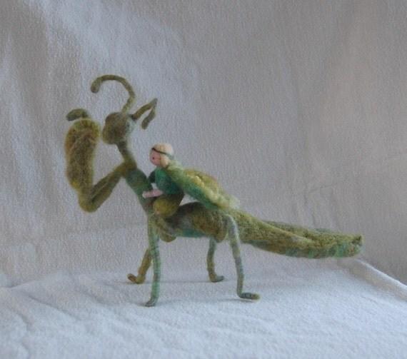 Praying Mantis with Fairy Rider Doll Waldorf Felted Montessori Wool