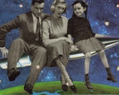Paper Collage Art Nuclear Family Atomic Age Space Race Rocket Humorous Art