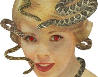Original Mixed Media Collage Art on Paper Medusa Head Snake Wall Art Gorgon Modern Mythology Artwork Weird Art