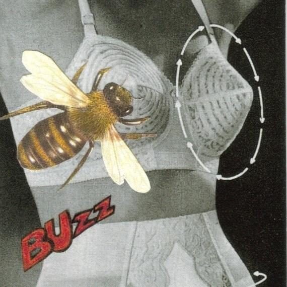 Original Collage Art Bee Cup Bra
