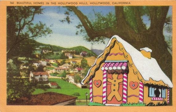 Gingerbread House Hollywood Hills California Postcard Art