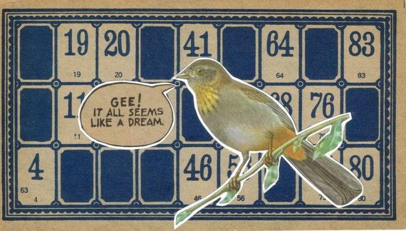Bird Art Original Collage Bird on Branch