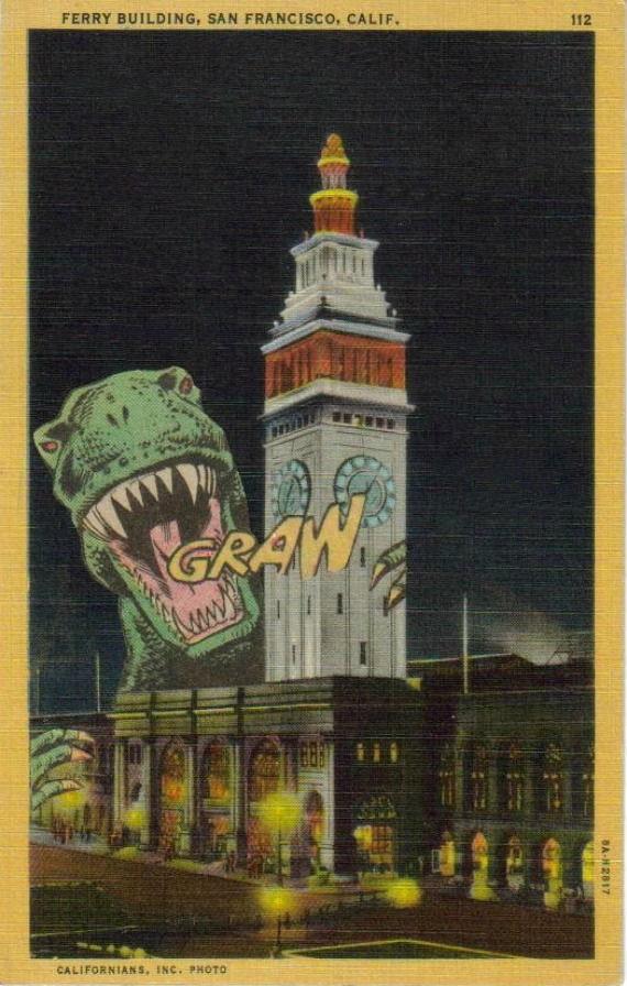 Godzilla Monster San Francisco Art Postcard Collage
