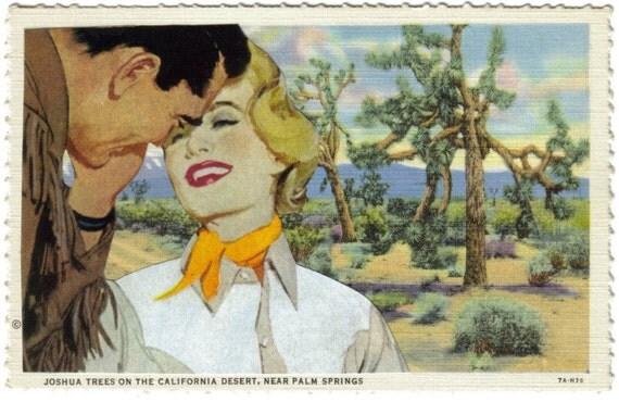Western Art Southwest Romance Art Postcard Collage