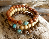 Trio of Wood and Turquoise Wrist Malas